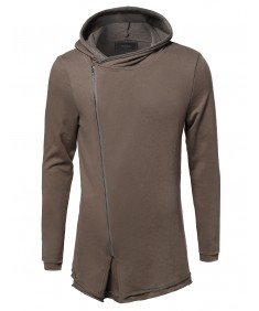 Men's Casual Longline Asymmetrical Zip Up Cotton Hooded Jacket