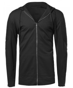 Men's Casual Solid Long Line Zip-up Ribbed Quilted Hoodie