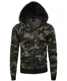Men's Camouflage Print Zipper Hoodie