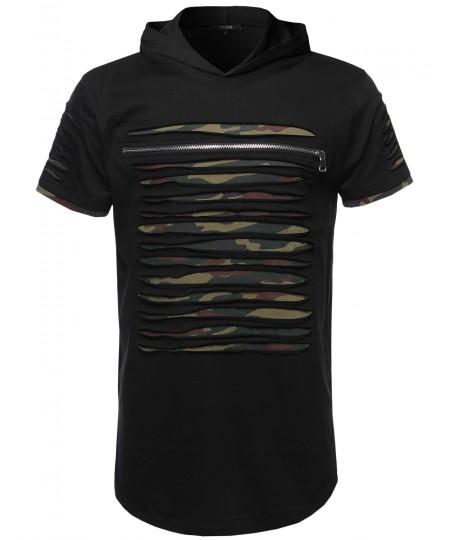 Men's Cut Out Design Front Zipper Short Sleeves Top Hoodie