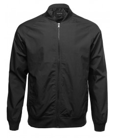 Men's Classic Basic Style Zip Up Sleeve Pocket Bomber Jacket
