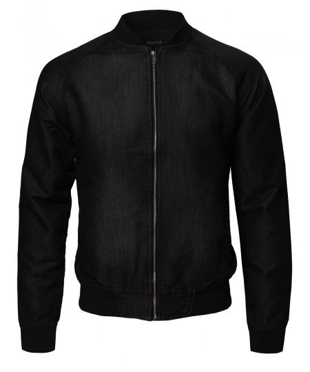 Men's Classic Basic Style Zip Up Bomber Jacket