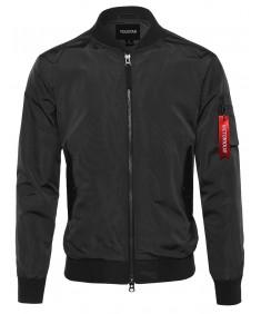 Men's Classic Basic Style Zip Up Sleeve Pocket Bomber Jacket