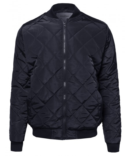Men's Classic Quilted Padded Bomber Jacket