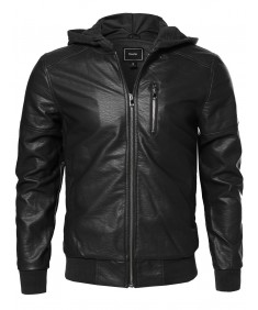 Men's Leather Bomber Jacket With Detachable Hood