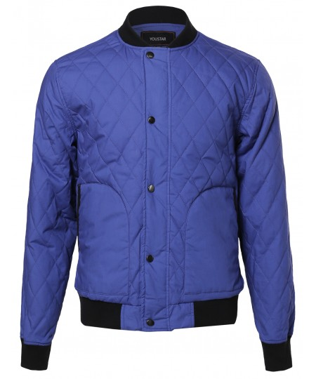 Men's Quilted Cotton Bomber Jacket With Button & Zipper Closure