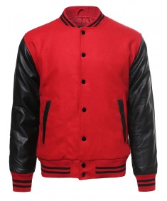 Men's Heavyweight Pleather Wool Blend Bomber Jacket With Stripe