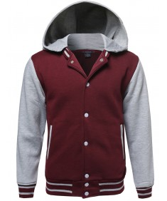 Men's Baseball Bomber Jacket With Detachable Hoodie