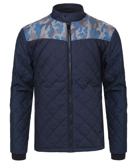 Men's Quilted Jacket With Camo Details