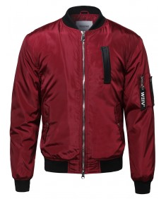 Men's Classic Mediumweight Bomber Jacket With Tag Detail