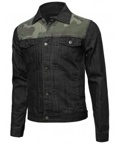 Men's Camouflage Printed Denim Jacket