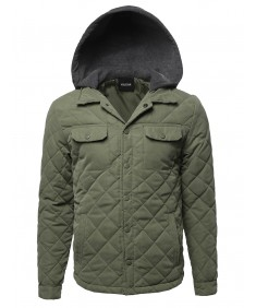 Men's Contrast Color Hooded Puffer Jacket