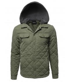 Men's Contrast Color Hooded Puffer Jacket