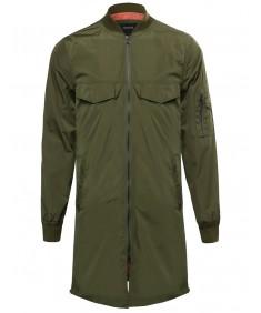 Men's Long Line Side Zipper Unique Bomber Jacket