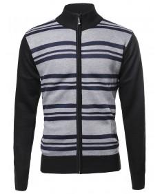 Men's Basic Stripe Pattern Zipper Front Sweater