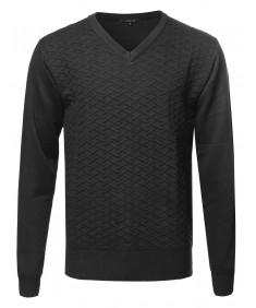 Men's Basic Diamond Textured V-neck Sweater