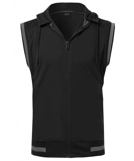 Men's Sleeveless Zipper Closure Drawstring Hoodie