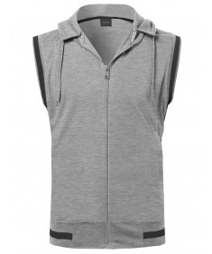 Men's Sleeveless Zipper Closure Drawstring Hoodie