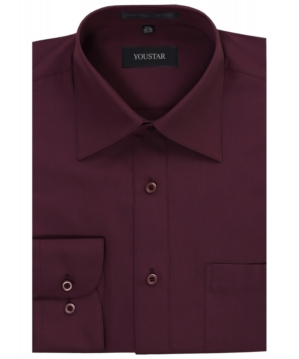 men 39 s solid cotton blend long sleeve regular fit dress