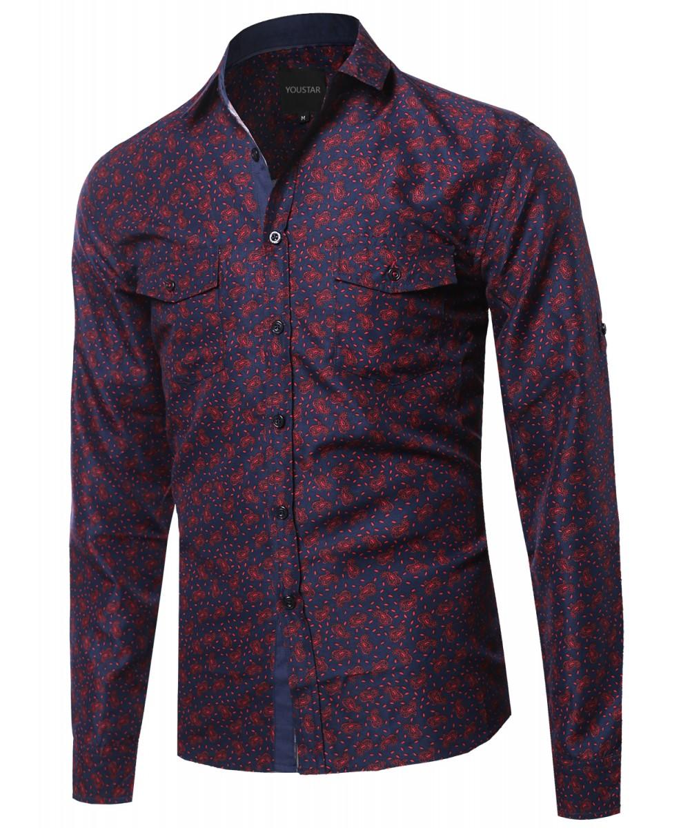 Youstar Men's Long Sleeve Button Up Shirt