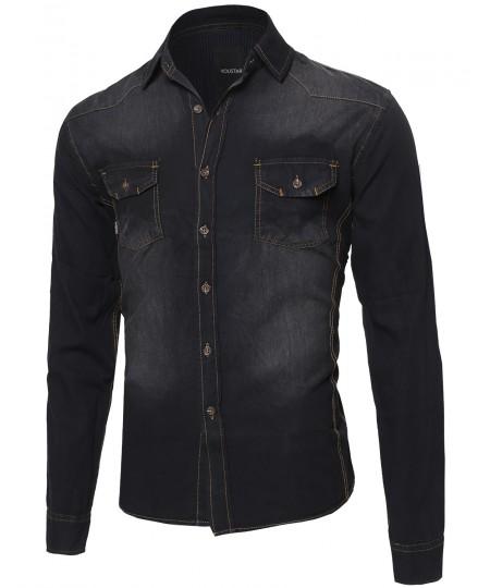 Men's Lightweight Denim Button Down Shirt Top With Foldover Sleeves