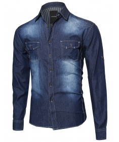 Men's Lightweight Denim Button Down Shirt Top With Foldover Sleeves