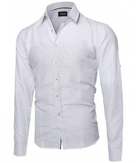 Men's Polka Dot Gradient Button Down Shirt Top With Foldover Sleeves
