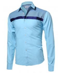 Men's Long Sleeve Patterned High Low Curved Hem Shirt