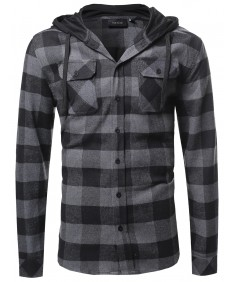 Men's Plaid Attachable Hoodie Flannel Shirt