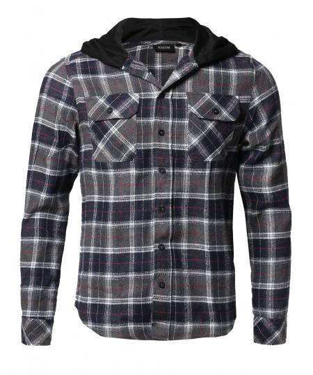 Men's Plaid Attachable Hoodie Flannel Shirt