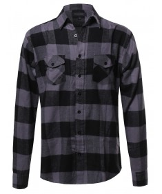 Men's Flannel Plaid Checkerd Long Sleeve Tshirts Plus Size