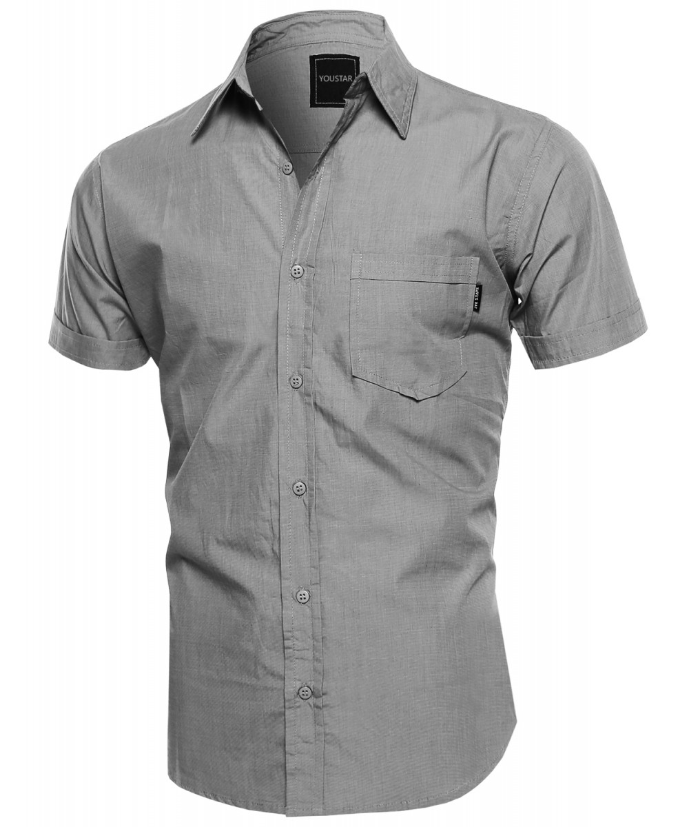 Men's Solid COTTON Basic Short Sleeve Pocket Button Up Shirt Top ...