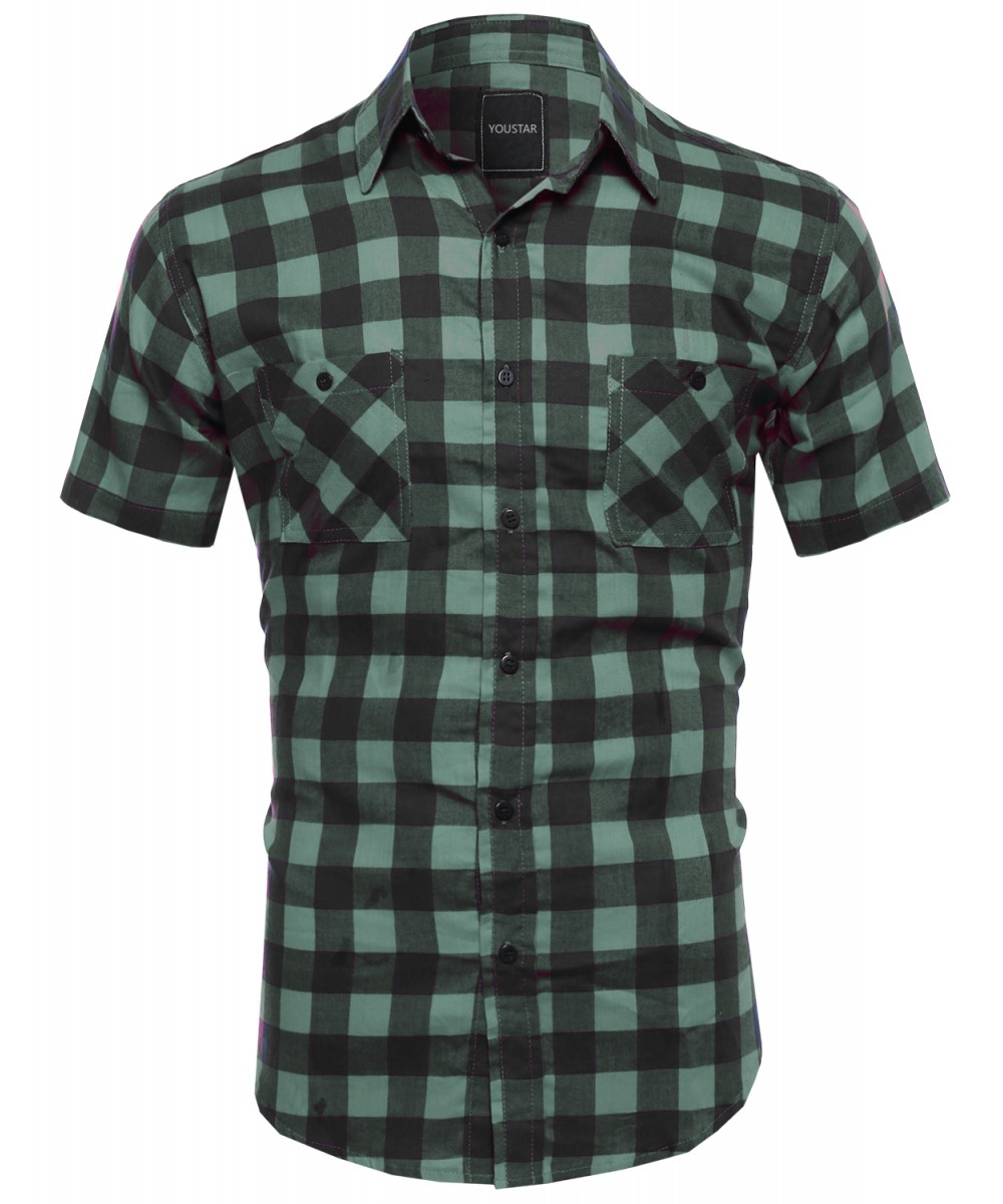 men casual plaid checkered short sleeve pockets button