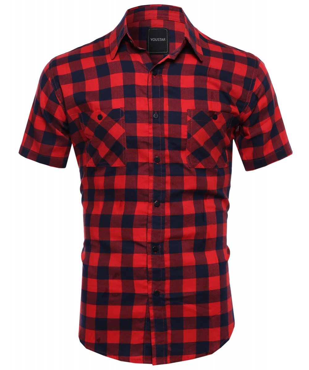 Men casual plaid checkered short sleeve pockets button Short sleeve plaid shirts