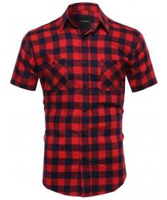 Men's Classic Plaid Short Sleeve Button Down Shirt