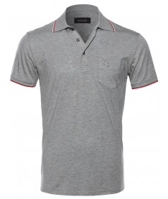 Men's Slim Fit Solid Short Sleeves Pattern Printed Chest Pocket Polo Shirt