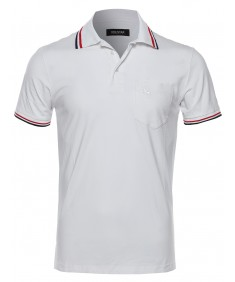 Men's Slim Fit Solid Two Tone Stitch Detailed Polo Shirt