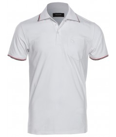 Men's Slim Fit Solid Three Button Placket V-Neck Polo Shirt
