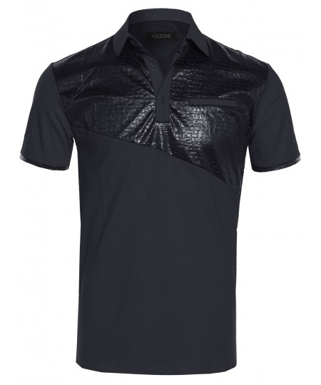 Men's Slim Fit Faux Alligator Leather Patch Detail Polo Shirt