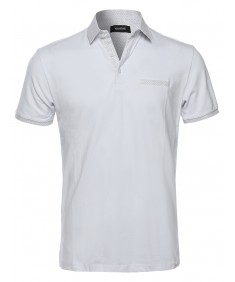 Men's Slim Fit Polka Dot Pattern Neckline Cuffs V-Neck Polo Shirt