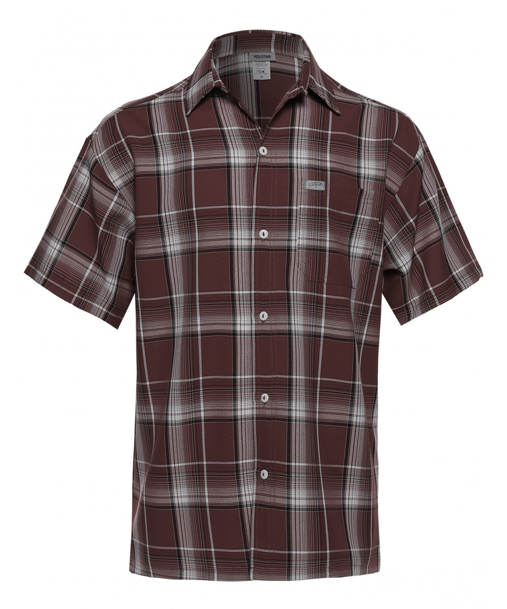 Men 39 s loose fit plaid checkered short sleeve button down for Mens short sleeve shirts