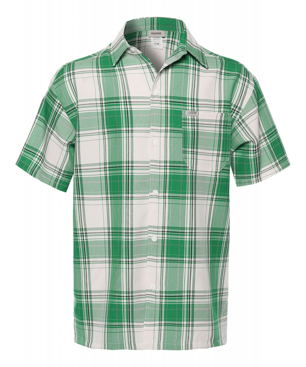 Men's Loose Fit Plaid Checkered Short Sleeve Button Down Shirt Top ...