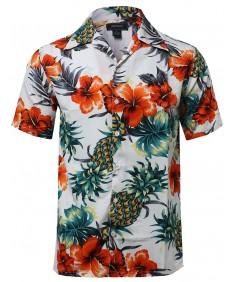 Men's Hawaiian Print Lightweight Short Sleeve Button Up Shirt