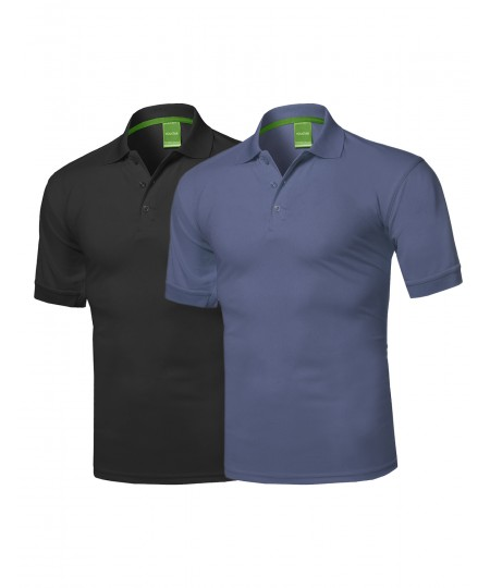 Men's Solid Cool Dri-Fit Active Athletic Golf Short Sleeves Polo Shirt