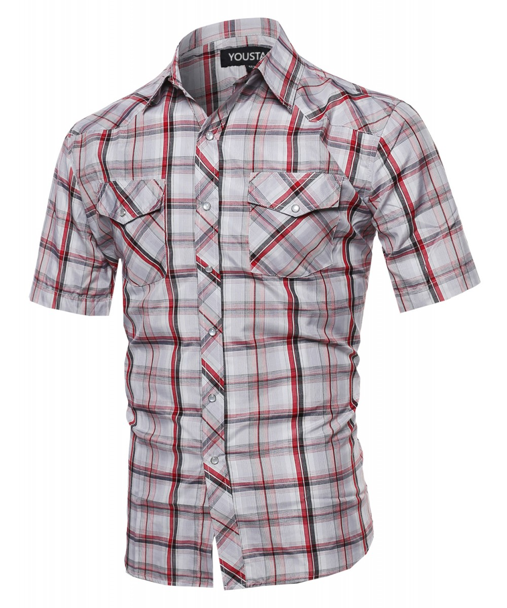 Men 39 s western casual button down plaid check short sleeve for Mens button down shirts
