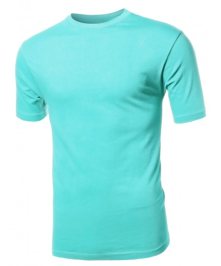 Men's Basic Solid Various Color Crew Neck Short Sleeves Tee