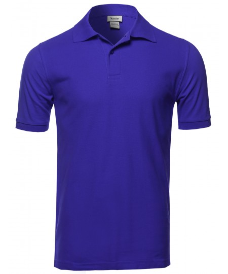 Men's Solid Short Sleeves Two Button Placket Long Line Polo Shirt