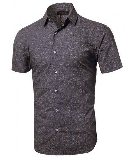 Men's Short Sleeve Printed Button Up Shirt