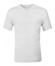 Men's Basic Solid Short Sleeve V-neck Pre-shrunk Cotton T-shirt S-3XL