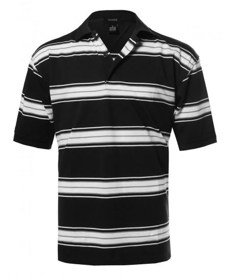 Men's  Basic Short Sleeve Stripe Polo Top (S-3XL)